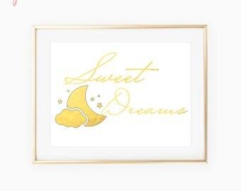 Sweet Dreams Sign / Moon And Stars Nursery / Baby Shower Gift Boy / Baby Shower Gift Girl / Nursery Decor / New Mom Gift / Nursery Wall Art