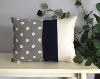 Decorative Pillow Cover, Color Block Pillow, Pillow with Blue Stripe and Polka Dot Pattern