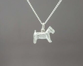 Sterling silver monopoly dog necklace - Silver Schnauzaer pendant - Sterling silver necklace - Mini Dog pendant - Monopoly jewelry