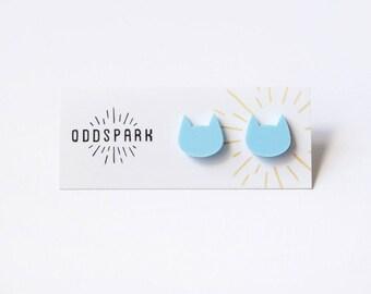 Cat Stud Earrings in Pastel Blue Acrylic