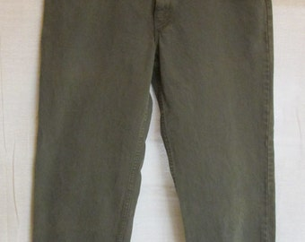 Vintage LEVIS 550 Dark Olive Green Denim Relaxed Fit Straight Leg Jeans Men's Size 34 X 29 USA
