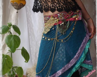 Raggle Taggle Gypsy Skirt, Burning Man, Festival, Fairy, Bohemian, Boho, Hippie, Pixie, Gold Chain,  Summer Dress, GitanaBeastCreations