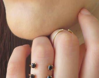 Open Diamond Ring, Black Diamond ring, Quadruple Diamond Ring, Unique Diamond Ring, 14K Solid Gold Diamond Ring, Statement Diamond ring