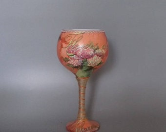 Orange French Flowers Decorated Wine Glass