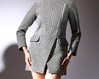 Karmela's Winter Dress Coat in Stripes