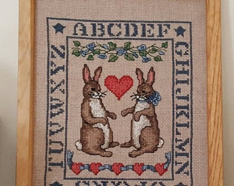 Cross Stitch,Finished Cross Stitch,Cross Stitch Sampler,Completed Cross Stitch,Antique Needle Work,Vintage Needle Work,Bunny Cross Stitch