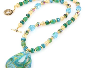 Blue, Gold and Green Crystal Necklace with Fire-Polished Glass Beads and Lampworked Beads