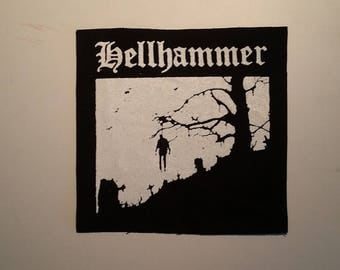 Hellhammer patch white logo black metal