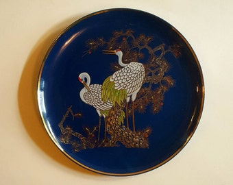 Vintage Japanese plate - two cranes - cobalt blue plate - Empress by Haruta plate  - collectible plate - decorative plate - bird decor