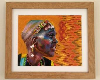 PRINT || framed african art, Maasai painting, maasai woman, framed fine art print, framed art, African painting, tribal art, Kenyan art