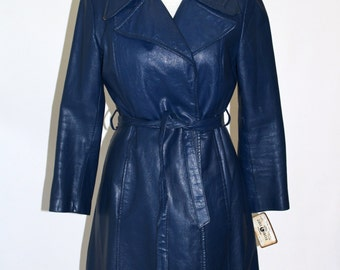 SALE* Vintage Clothing • Long 70's Leather • Trench Coat With Wrap • Cobalt Blue