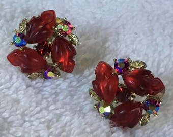 Vintage Lisner Red AB Rhinestone and Thermoset Screw Back Earrings 3/4 inch in diametet