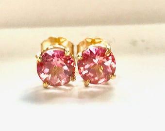14 Carat Gold 6mm Pink Topaz Stud Earrings