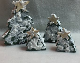 Snowy Wood Trees with Gold Stars - Set of 4 (#006)