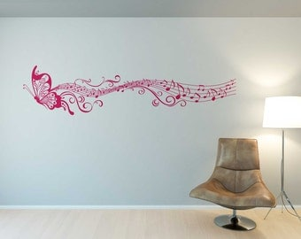 Butterfly Wall Decals, Music Notes Wall Decal, Vinyl Wall Decals, Butterfly Wall Sticker, Wall Decals For Living Room, Butterfly Wall Decor