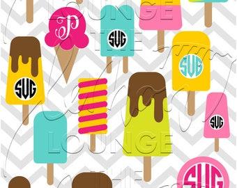 Ice cream Monogram svg, 18 ice cream monogram svg, Ice pop svg, ice cream cone monogram svg, monogram cut file, sun svg, commercial use OK,
