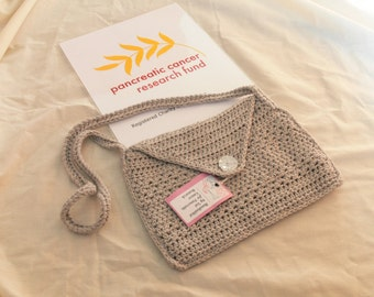 Grey Knitted Handbag With Button Opening - With Cotton Inner Lining -  Charity Listing