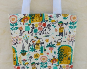 Book Tote – Library Bag – Little Kids Garden Floral Print – Fabric Book Bag, Market Tote, Handmade Fabric Bag, Magazine Tote, Reading Tote