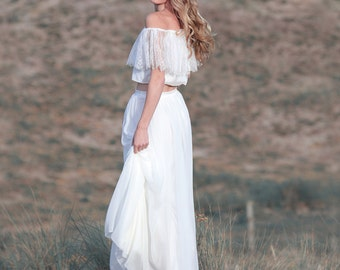 wedding skirt casual wedding dress separate made of silk chiffon skirt perfect for bohemian