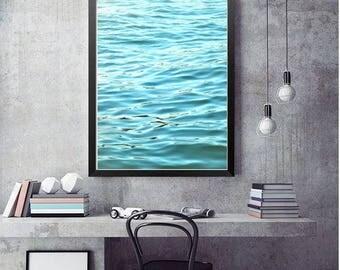 Abstract Ocean Photography, Modern Beach Decor, Teal Blue Ocean Print, Bathroom Art, Waves Beach Photography, Nautical Decor