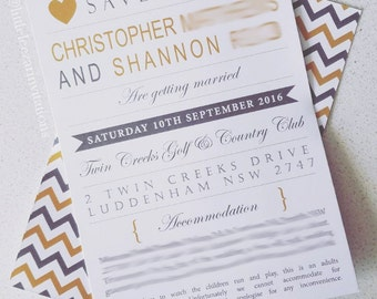 Gold and Grey Chevron Save the Date Invitation