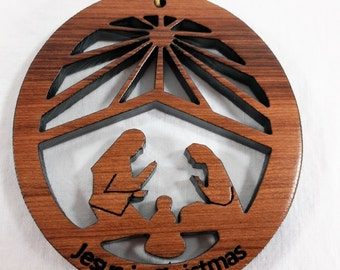 Nativity Oval Christmas Ornament California Redwoods Laser Cut Handmade Wood Ornament Made in USA