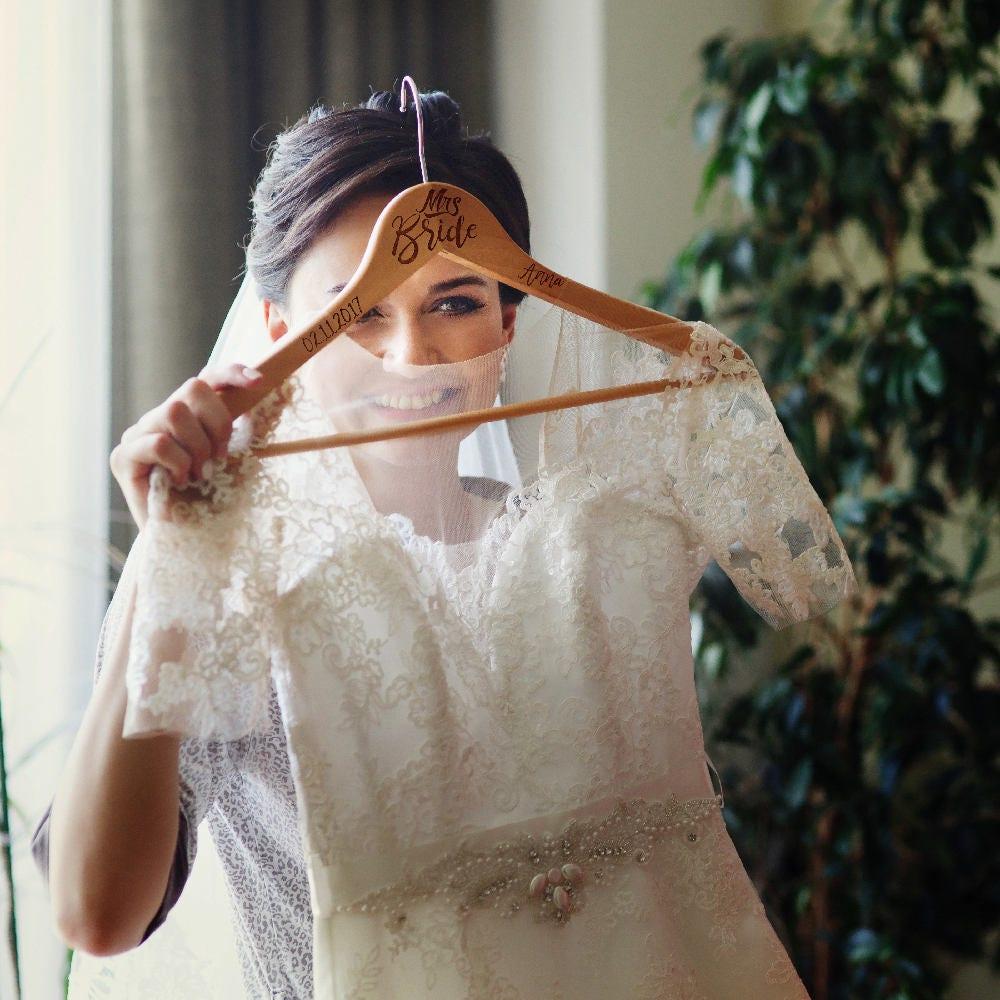 Set Of 2 Bride Groom Personalized Wedding Hanger Wedding