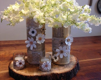 Vintage Decoupage Vases For Weddings And Home Decor, Wedding Centerpiece, Wedding Decorations, Vintage Decorated Vases