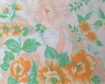 Vintage double bed sheet, floral flat sheet