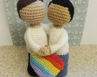 Pride couple ,Weighted crochet figures,
