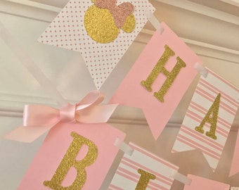 Pink & Gold Minnie Mouse Birthday Party - Minnie Mouse 1st Birthday Banner - Minnie Mouse 1st Birthday Pink and Gold