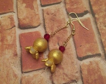 Gold Color Pomegranates with glass Ruby earrings