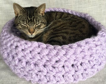 Cosy Cat Bed | Cosy Pet Bed | Cat Basket | Pet Basket | Crochet Cat Bed | Cat Furniture | Light Purple |