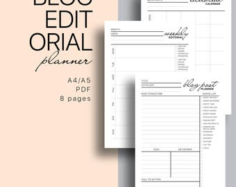 Blog Editorial Printable Planner  - Blog Planning Kit, Monthly and Weekly Editorial Calendar, Blog Post Planner, Series Planner