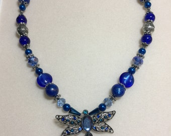 Cobalt and antique silver dragonfly necklace