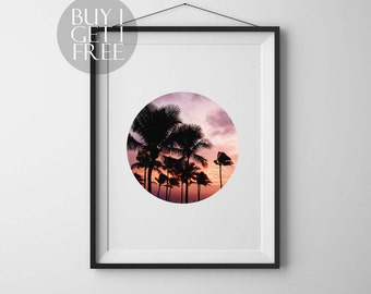 Palm print Circle photo Tropical print Circle print sunset Tropical art Palm art Circle photography Sunset photo Printable Wall Art