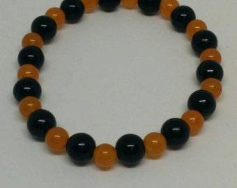 Orange and Black Stretch Beaded Bracelet - Team Spirit Jewelry with School Colors