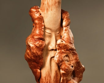 Wooden head sculpture, wooden human face, wood carved head statue, wooden face carving, rustic home interior,unique statues