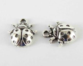 Silver ladybug charm metal ladybird charm flying insect charm garden charm 10 pieces lady bug charm 15x15 mm tierracast drop ladybug pendant