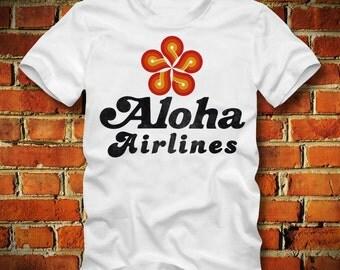BOARDRIPPAZ Aloha Airlines T SHIRT Hawaii Honolulu Magnum Aloha Air Retro Airline T Shirt 80s Retro Oldschool America US Island Hoppers Pi
