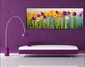 Abstract Oil Flowers Painting,Vivid Picture,Bright Flowers, Big wall art,Mood art, art investment, impression painting, living room painting