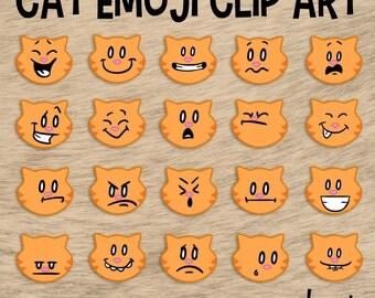 Cat Emoji Clip Art, Cat Clip Art, Facial Expressions, Emoji Clipart, Emoticon Clip Art, Classroom Pet, Orange Cat Clip Art, Cat Clipart