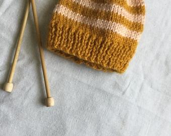 Striped Knit Baby Beanie / Hand Knitted Newborn Baby Hat / Baby Beanie / Knit Baby Hat