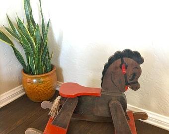 Vintage childrens wood rocking horse