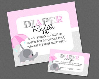 Sweet Pink Elephant Baby Shower Diaper Raffle Ticket And Diaper Raffle Sign - INSTANT DOWNLOAD