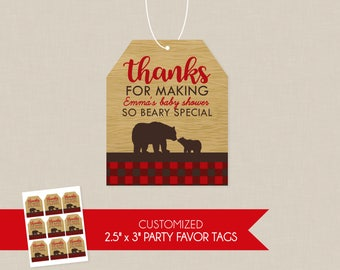 Plaid Mama Bear Baby Shower Personalized Thank You Favor Tags - Cub Flannel Woodsy Northwoods Lumberjack Inspired