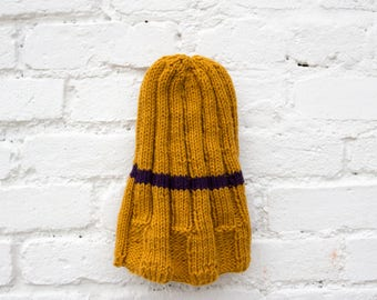 Color Striped Ribbed Beanie