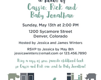 Customized Baby Book Shower Printed Invitations