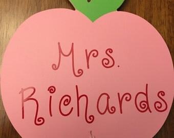 Personalized teacher apple chalkboard
