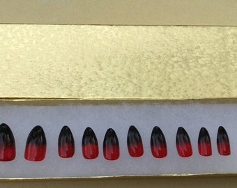 Set of 20- Hand painted Black and Red ombré nails false nails - ombré nails press on nails - Fake Nails - set of 20 any style -